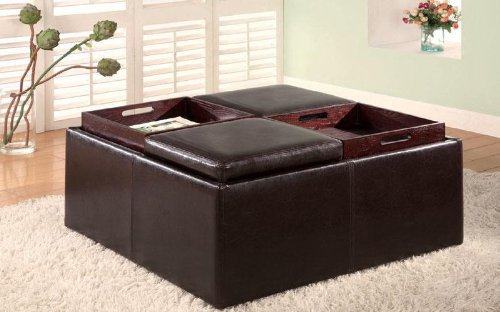 501043 Square Faux Leather Storage Ottoman With Tray Tops by