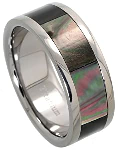 Titanium 8mm Wedding Band Ring Mother of Pearl Inlay Comfort-fit, size R