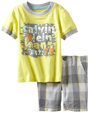 Calvin Klein Baby-boys Infant Tee With Plaided Short, Yellow, 12 Months