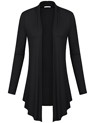 A Cardigan,Messic Womens Open Front Autumn Long Sleeve Warm Soft Draped Cardigan Tops Black,Large