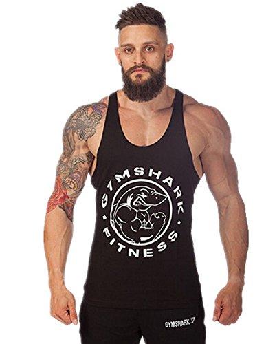 Moge Mens GYM Shark Print Stringer Bodybuilding Gym Tank Tops (Gym Shark Tank Top compare prices)