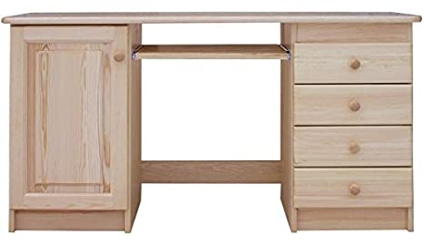 Desk solid, natural pine wood Junco 187 - Dimensions 75 x 140 x 55 cm