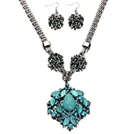 Yazilind Turquoise Necklace and Earri…