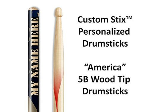 Personalized Drumsticks (1 Pair with Each Order) American Flag drumsticks (Custom Stix compare prices)