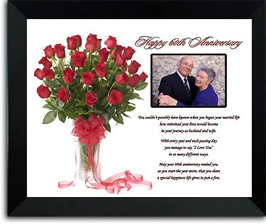 Happy 60th Anniversary Poetry Gift - 60 Years of Marriage Framed Poem - You Add the Photo!