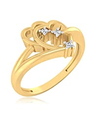IskiUski Elegant Heart 925 Sterling Silver 14kt Gold Plated Round Cubic Zirconia Ring For Women