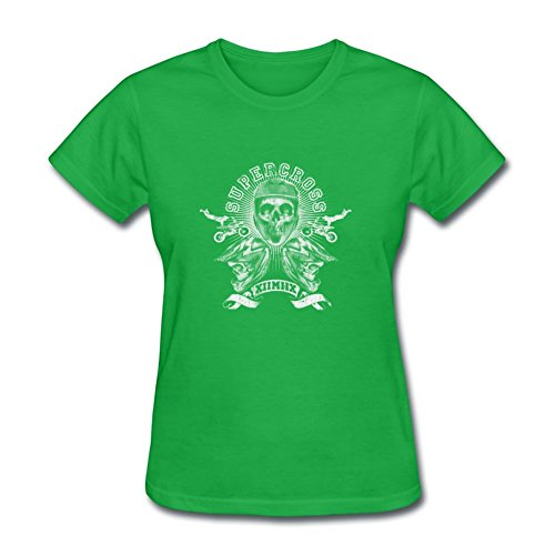 Skull Helmets Banner Motorbike Desire Adult Women Printed X-large T-shirt Green