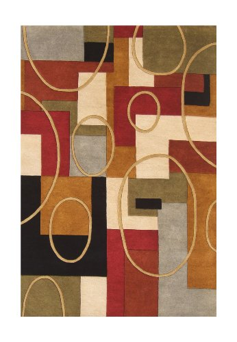 ZnZ Rugs Gallery, 20048_5X8, Hand Made Rust New Zealand Blend Wool Rug, 1, Red, Black, Olive Green, Silver, 5X8'