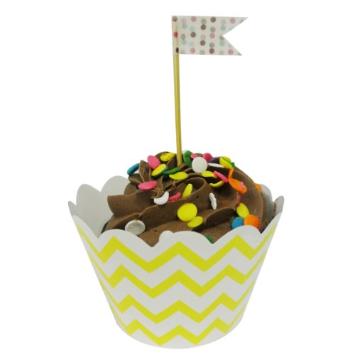 Wrapables Standard Size Chevron Cupcake Wrappers (Set Of 60), Yellow front-138650