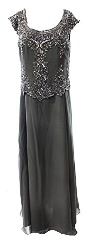 J Kara Women's Bead Embellished Popover Seamed Ball Gown Gray 14
