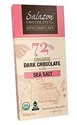 Salazon Chocolate 72% Organic Dark Chocolate with Sea Salt, 2.75 Ounce (Pack of 12)