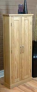 Cash back for  Tall Dvd Cd Storage Cupboard Mobel Solid Premier Oak