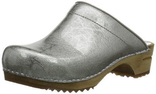 Sanita Women's Classic Patent open Clogs & Mules Silver Argent - Silber (silver 16) 7