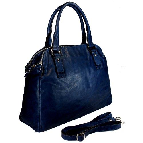 DELARA Grand sac à main en cuir nappa souple – bleu – fabriqué ...