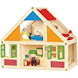 Viga Wooden Dolls House With 24 Piece Furniture Set
