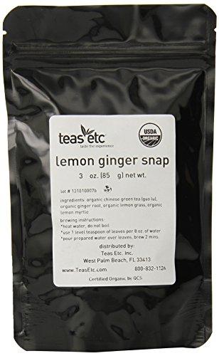 Teas Etc Organic Green Tea, Lemon Ginger V2, 3-Ounce