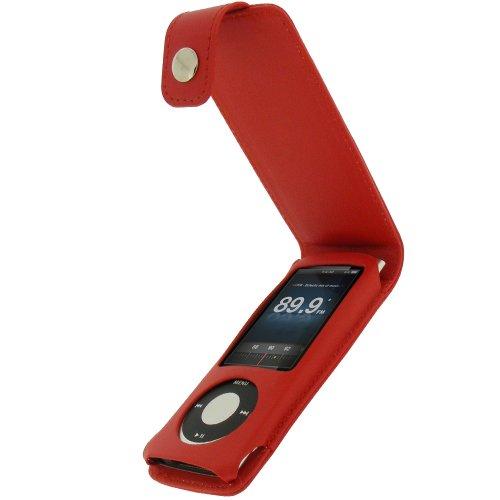 igadgitz PU Leder Tasche Schutzhülle Etui Case Hülle aufklappbar in Rot für Apple iPod Nano 5G 5.Gen Generation (mit Videokamera) 8gb, 16gb + abnehmbare Karabinerhaken