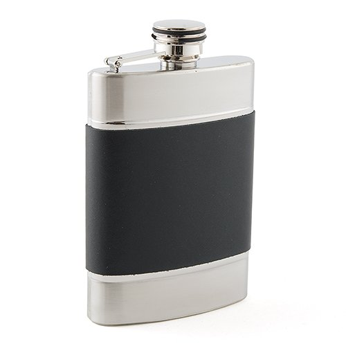 Brushed-Stainless-and-Black-Leather-Flask