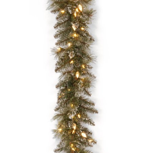 National Tree Glittery Bristle Pine Garland with 100 Soft White LED Lights & C7 Diamond Caps, 9' x 10