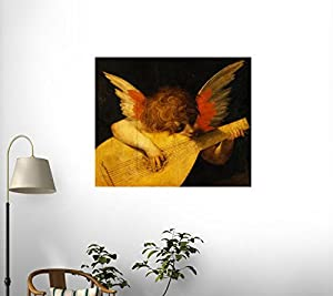 Musical Angel by Rosso Fiorentino Wall Decal - 24 Inches W x 20 Inches H - Peel and Stick Removable Graphic