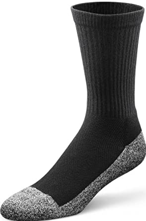Dr. Comfort Diabetic Extra Roomy Crew Socks (Large (Men's 10.5-12/Women's 11.5-13), Black)