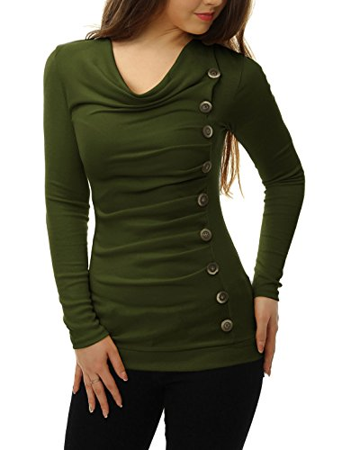 allegra-k-women-cowl-neck-long-sleeves-buttons-decor-ruched-top-green-m