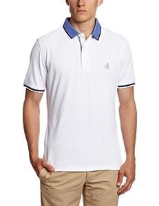CALVIN KLEIN Golf Men's Tech Pique Polo Shirts - White/Wild Blue, Small