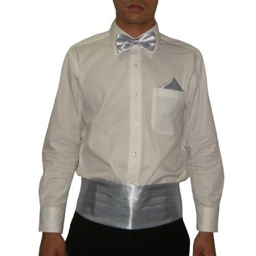 3 Pcs Set: Silk Mens Pleated Adjustable Cummerbund, Bow Tie & Handkerchief - Light Grey