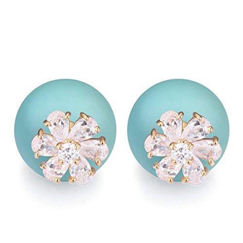 [Simple Green Pearl Earring AAA Zirconic Stud Earrings] (Diy Pageant Girl Costume)