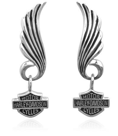 Harley Davidson® winged dangling post Sterling Earrings HDE0270 by MOD®
