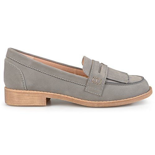 Brinley Co. Womens Fringed Faux Suede Slip-on Loafers Gray
