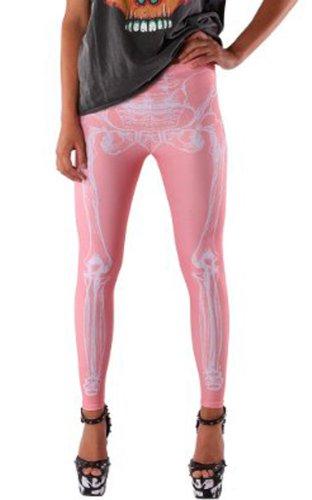 Iron Fist-Leggings da donna, a forma di osso a forchetta, colore: rosa, taglia: 8, colore: rosa