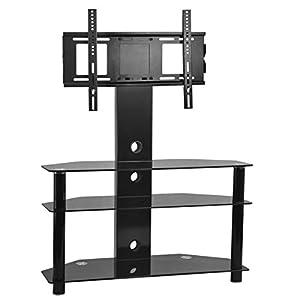 Cheap  Popamazing  Glass TV Stand Cabinet Chrome TV Bracket LCD Plasma LED 3D 32″- 52″