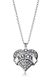 Inspired Silver Babcia Pave Heart Charm Necklace Clear Cystal Rhinestones