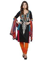 black cotton Dress materials (H104_black_Free size)
