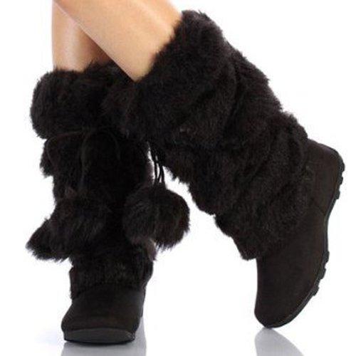 Super Furry Black Mukluks Pom-pom Snow Winter Flat Boots