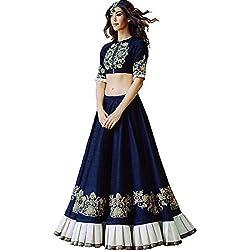 Astha bridal women silk lehenga(blue butta -1_pink _42)