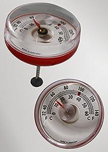 2 pcs juego de niño, termómetro de baño bimetálicas, fabricación Alemana termómetro analógico redondo con cadena metálica y peso color rojo/translúcido de Scheiber
