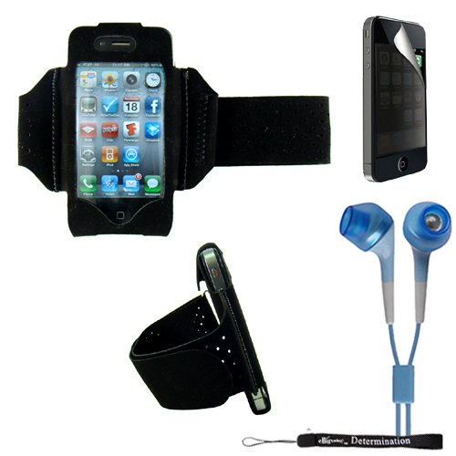 Extreme Sports Exercise Stretchy Black Armband with 8 Secure Adjustable Sizes from 11 inches up to 19 for Apple iPhone 4 , 4th Generation, 4th Gen compatible with 16GB / 32GB - HD Print + Includes a eBigValue (TM) Determination Hand Strap + Includes a Privacy Screen Protector for Apple iPhone 4, Provides 4-way privacy film (up, down, left, right) + Includes a Crystal Clear High Quality HD Noise Filter Earbuds Earphones Headphones 3.5mm Jack