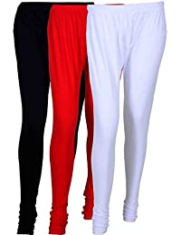 Fashion And Freedom Women's Cotton Leggings Pack Of 3_FFCL_BRW_BLACK-RED-WHITE_FREESIZE