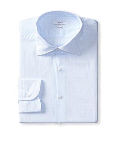 Orian Men's Slim Fit Washed Poplin Print Dress Shirt