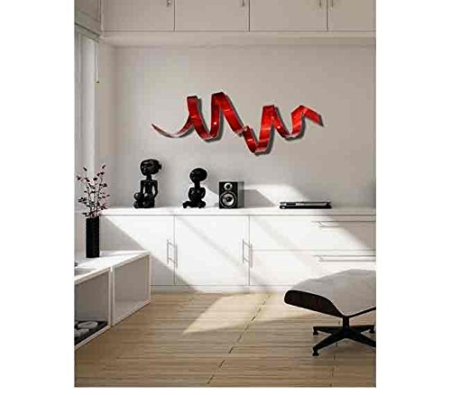 Contemporary Red Metal Wall Sculpture - Modern Handcrafted Abstract Wall Twist Metal Art - Red Home Accent Wall Decor - Cardinal Twist by Jon Allen