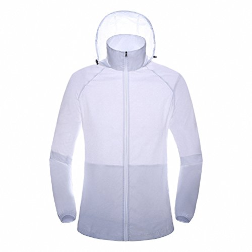 Maoko Sports Outdoor Running Windbreaker Jacket with Hood- Lightweight Sun UV Protection White (Harlaut Insulated Jacket compare prices)