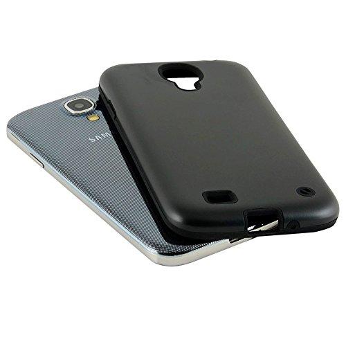 N48- Schwarz Backcover Alu Silikon Samsung Galaxy S4 GT-i9500 i9505 LTE Schutz Hülle Alumium Schale Cover Bumper Black