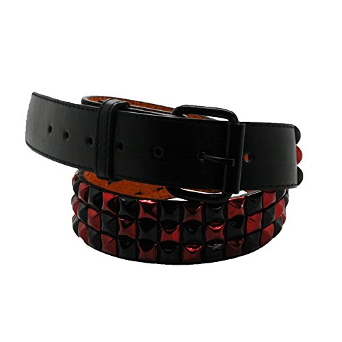 Bullet 69 Nero e Rosso a quadretti 3 Row Studded Belt (38 mm) Nero  Black & Red