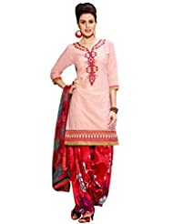 Inddus Women Light Pink Embroidered Cotton Blend Dress Material