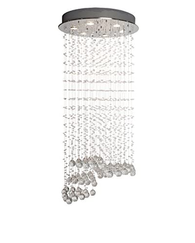 Finesse Décor Crystal Strands Grand 6-Light Pendant Lamp, Chrome