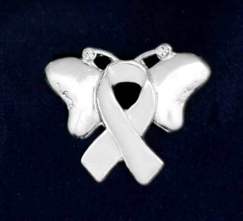 White Ribbon Butterfly Pin (27 Pins)