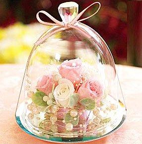 プリザーブドフラワーIPFA プリザーブドフラワー ギフト 『ガラスドーム エレガンス (ピンク&ホワイト)』