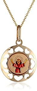 """14k Yellow Gold Divine Child Baby Jesus Picture Medal Necklace, 18"""""""